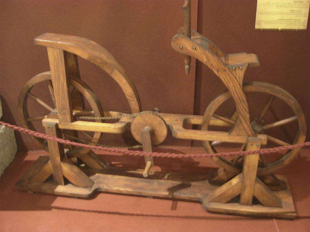 Storia della bicicletta - Un modello in legno realizzato secondo il progetto di Leonardo