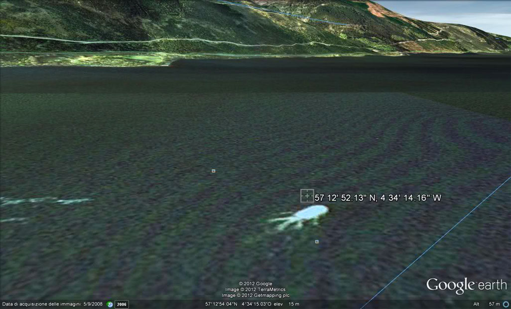 Loch Ness Monster - Google Earth - 2009