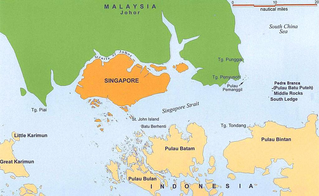 La posizione geografica di Singapore rispetto alla Malesia