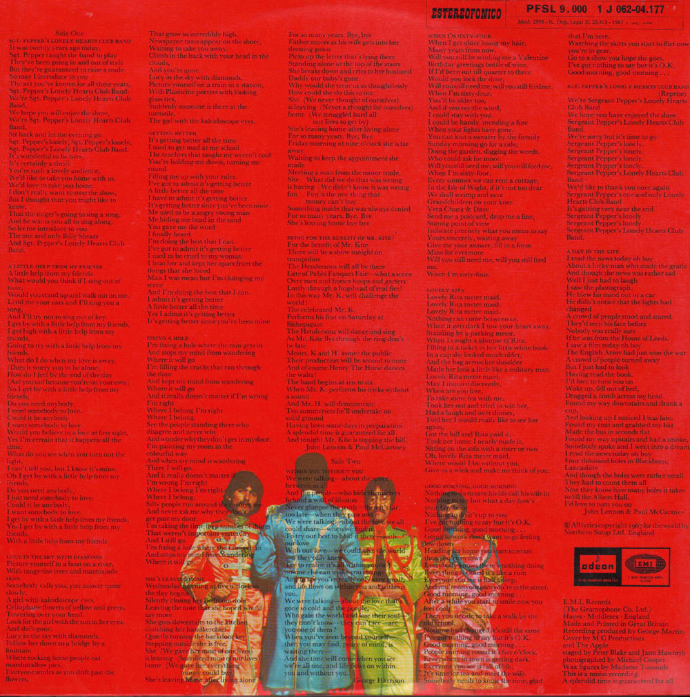 Sgt. Pepper's Lonely Hearts Club Band - retro copertina