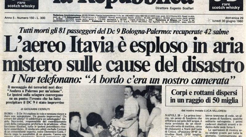 Strage di Ustica - Prima pagina giornale