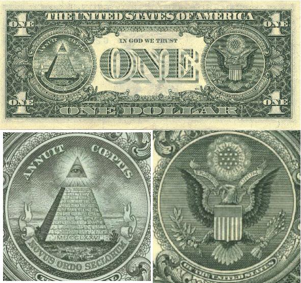 Simbolismo massonico: Dollaro americano - particolare