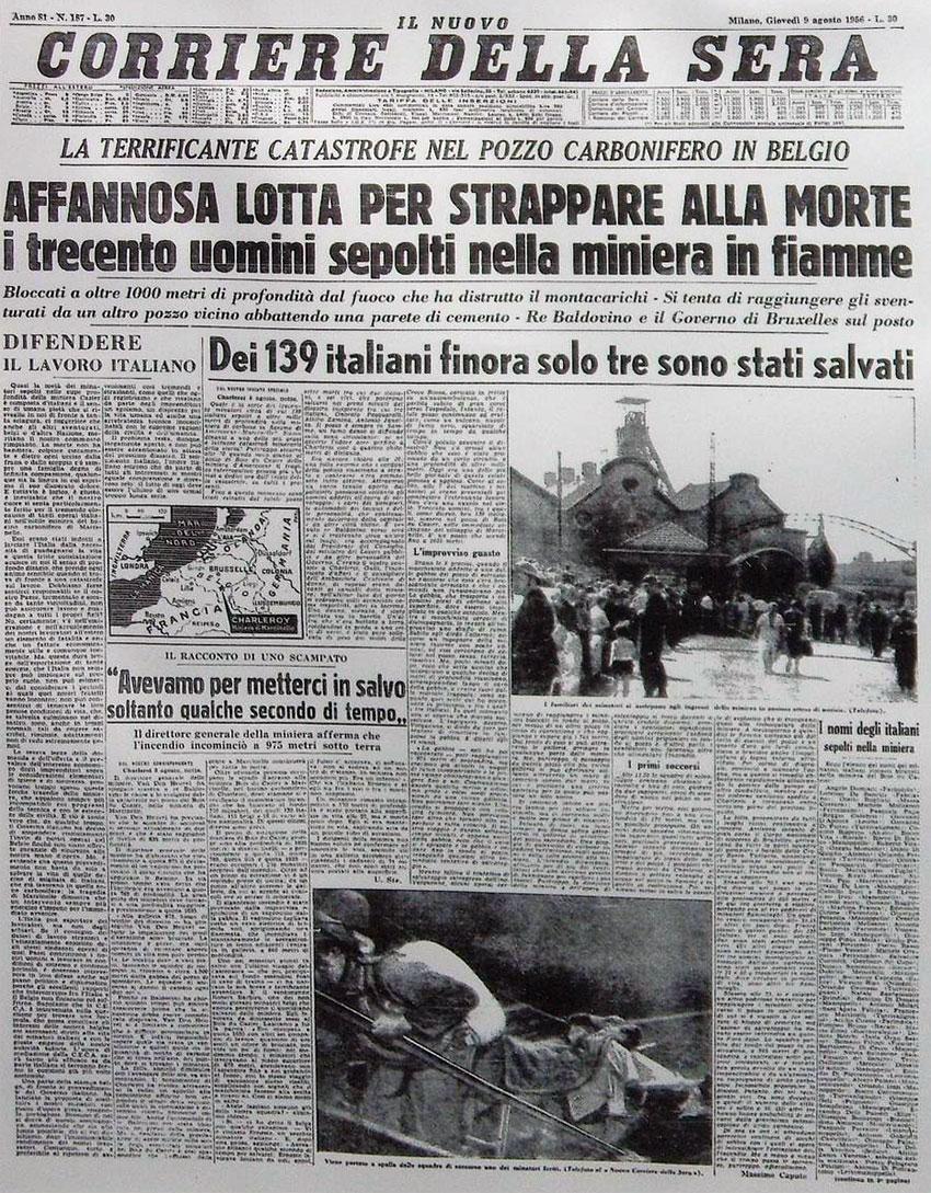 Marcinelle - Prima pagina giornale (Corriere della sera) - 9 agosto 1956