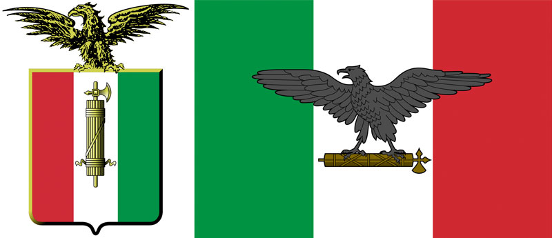 Lo stemma (a sinistra) e la bandiera di guerra della Repubblica di Salò
