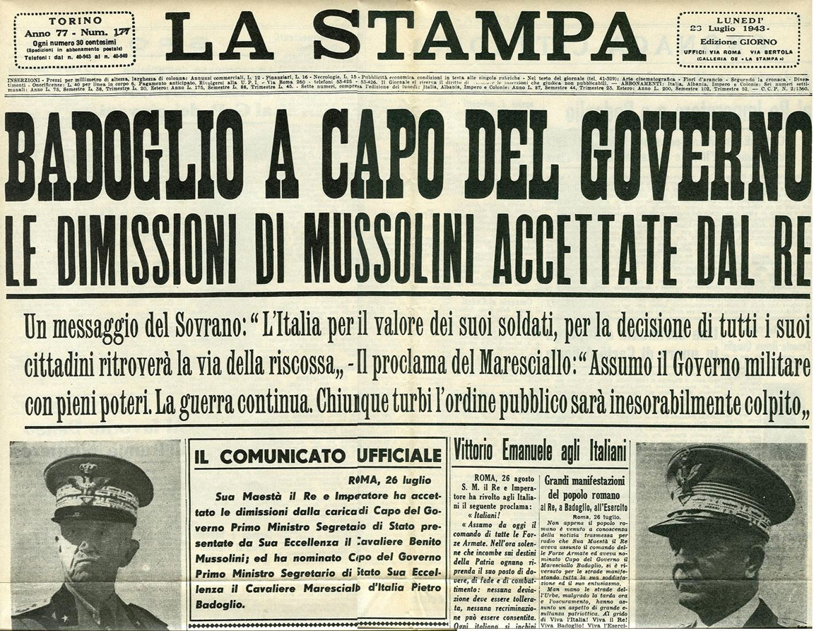 26 luglio 1943 - giornale - La Stampa
