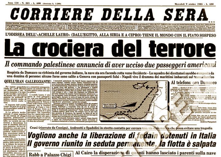 Sequestro Achille Lauro - giornale - 7 ottobre 1985
