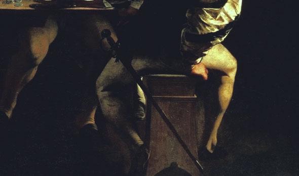 Vocazione di San Matteo - dettaglio - polpacci tesi