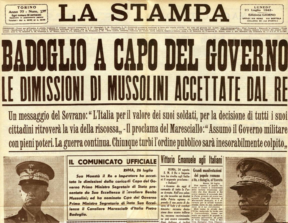 Badoglio a capo del governo (La Stampa - 23 luglio 1943)