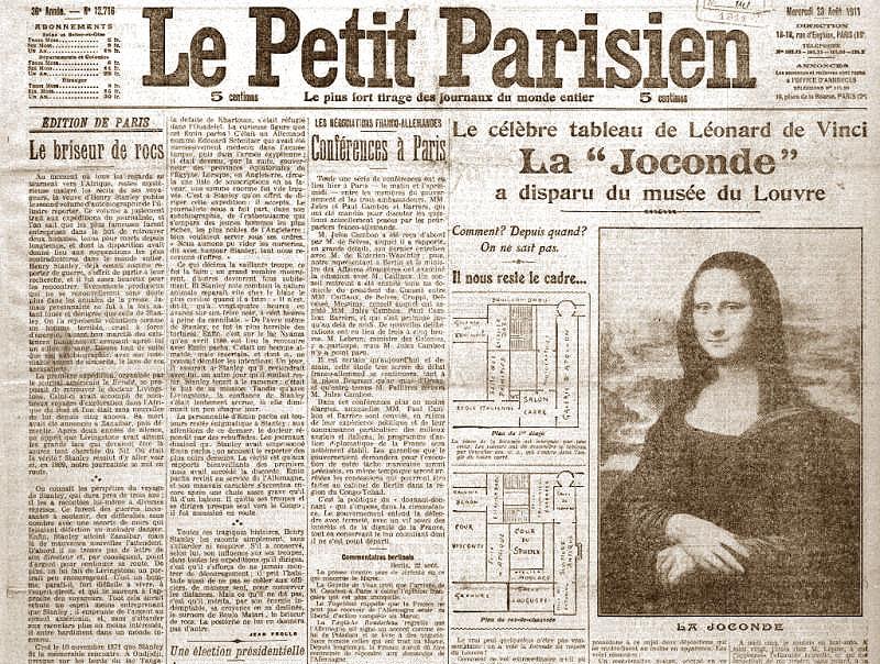 Furto della gioconda - Le Petit Parisien