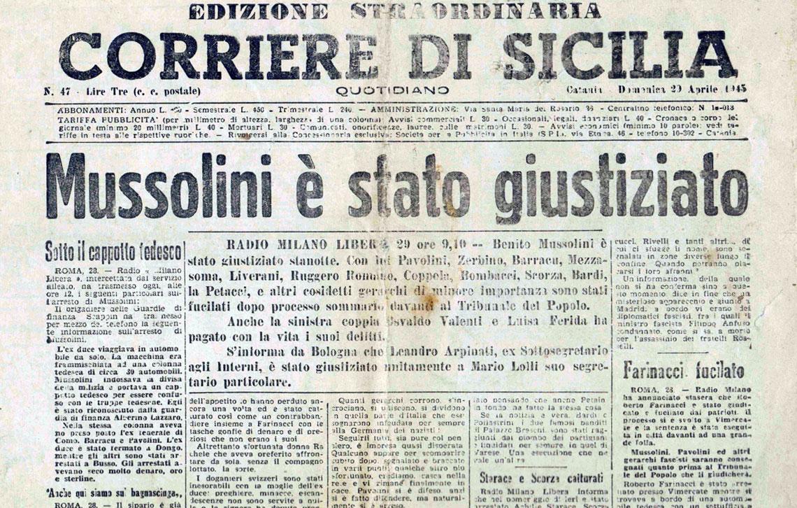 Mussolini giustiziato - Giornale di Sicilia - 29 aprile 1945