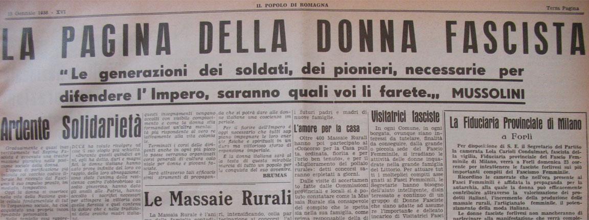 Propaganda fascista - Terza pagina del giornale Popolo di Romagna - 15 gennaio 1938