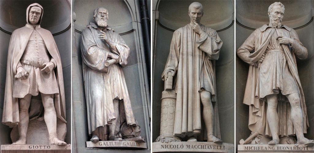 Uffizi - sculture personaggi famosi