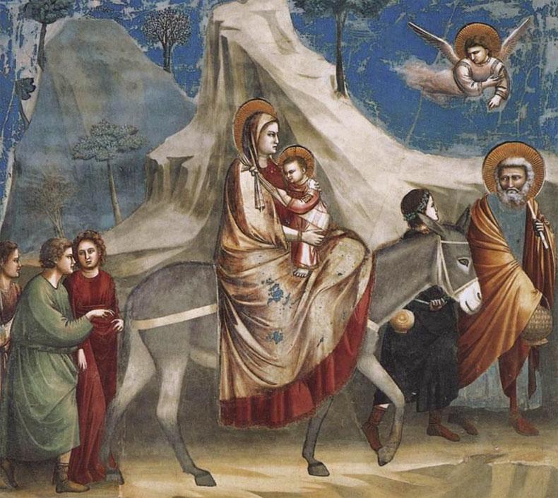 Fuga in Egitto - affresco di Giotto - Cappella degli Scrovegni Padova