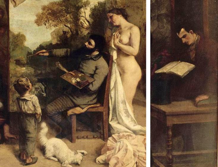 La bottega del pittore - dettagli - Baudelaire e Courbet