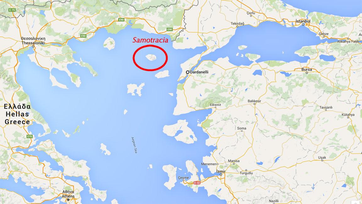 Mappa dell'isola di Samotracia