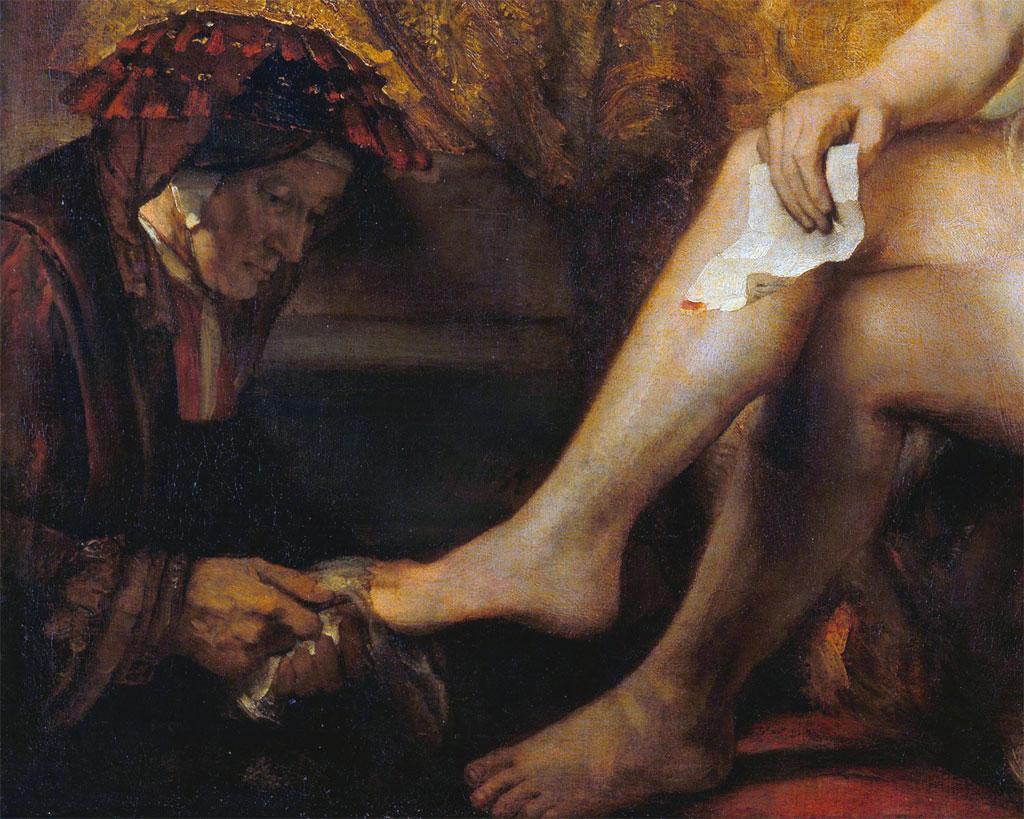 Betsabea con la lettera di David - dettaglio