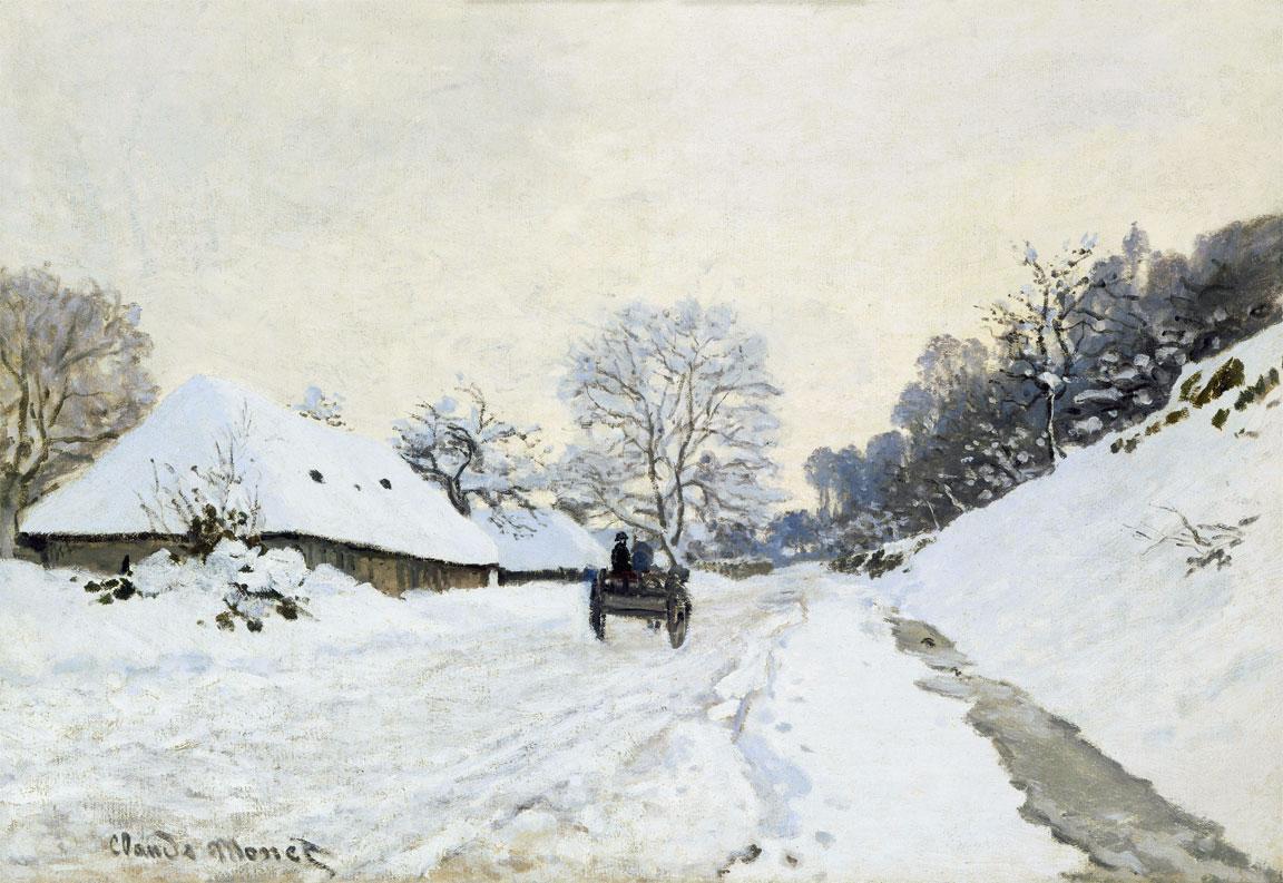 Il calesse - Strada coperta di neve a Honfleur - La charrette - Route sous la neige à Honfleur (Monet)