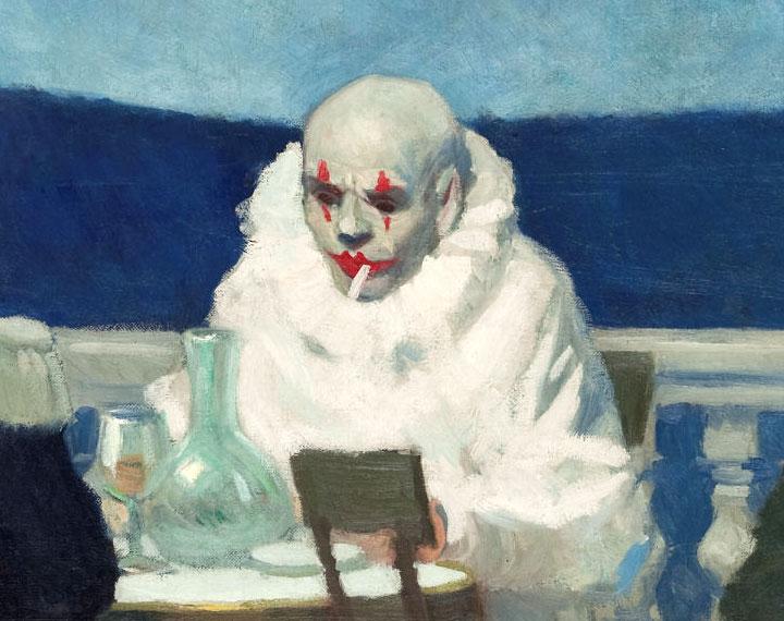 Soir bleu - Pierrot - detail - dettaglio - Hopper