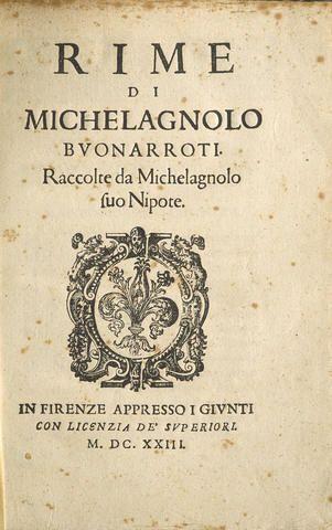 Copertina del volume ''Rime di Michelagnolo Buonarrote raccolte da Michelagnolo fuo Nipote'', MDCXXIII