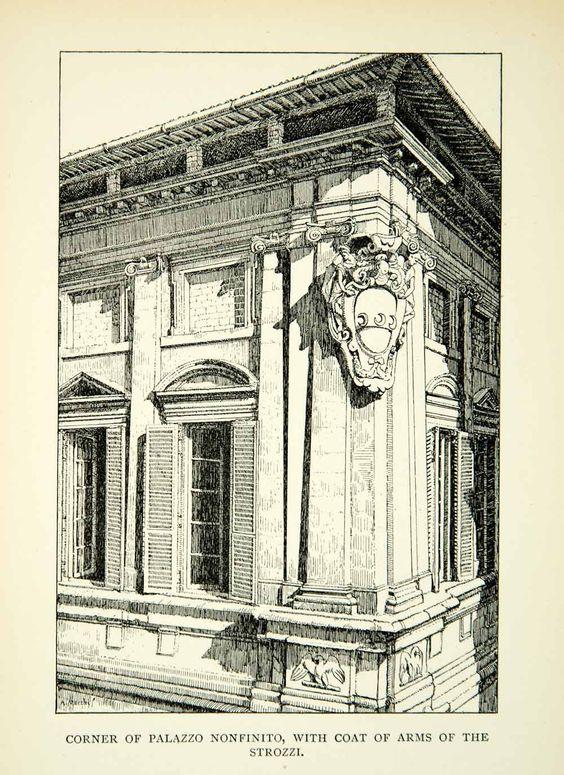 Antica illustrazione ritraente il palazzo della famiglia Strozzi