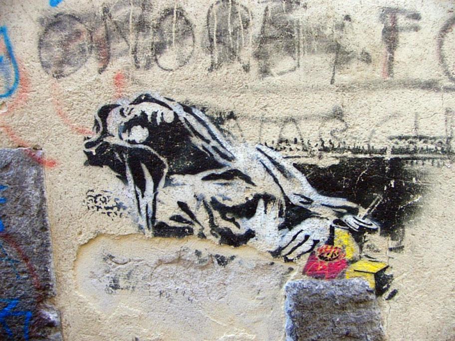 Le opere di banksy for Immagini di murales e graffiti
