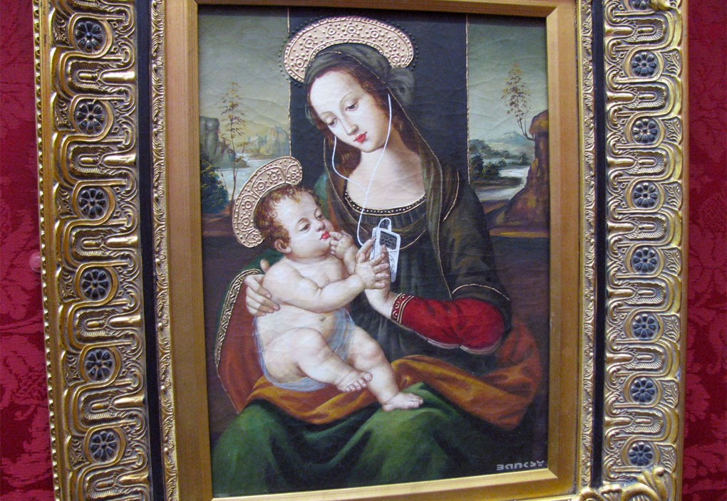 Banksy - Madonna rinascimentale con iPod