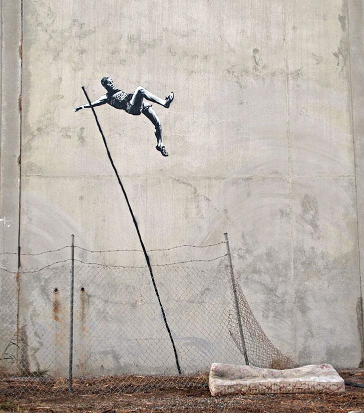 Banksy - Olimpiadi Londra 2012 - salto con la asta