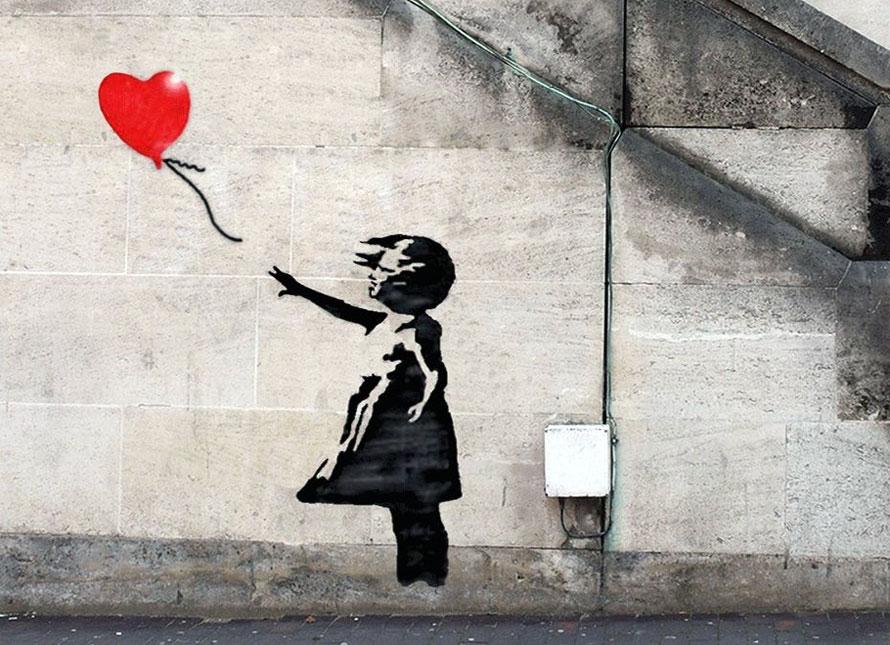 Banksy ragazza con palloncino girl with balloon for Immagini di murales e graffiti