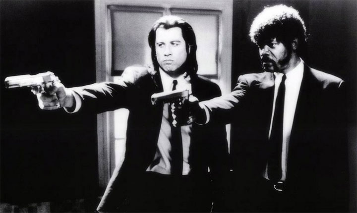 Pulp Fiction - scena con John Travolta e Samuel L. Jackson