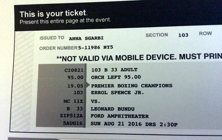 Biglietto match pugilato Leonard Bundu
