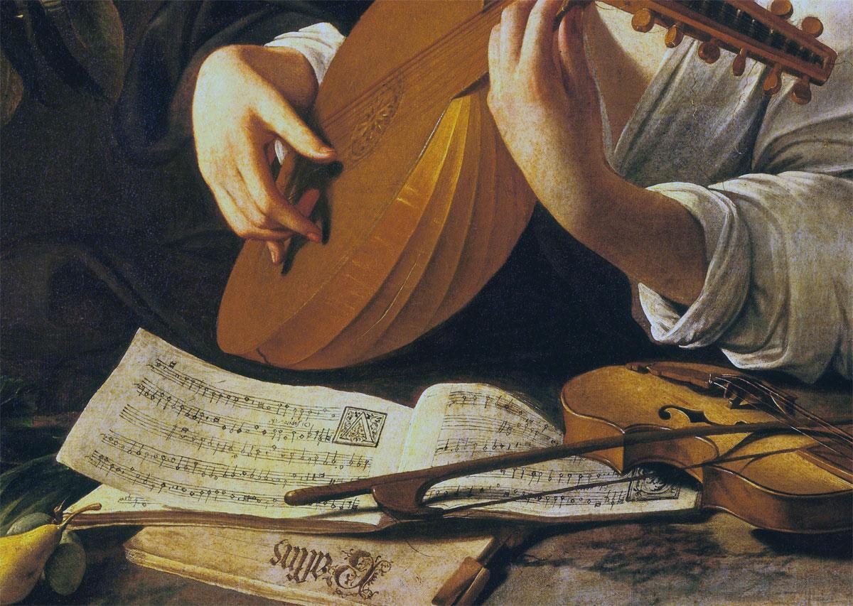 Suonatore di liuto - Caravaggio - dettaglio partiture