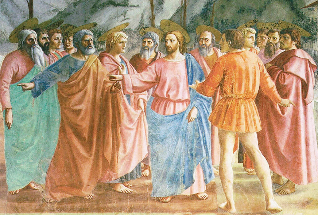 Pagamento del Tributo - Masaccio - dettaglio - Gesù e gli apostoli