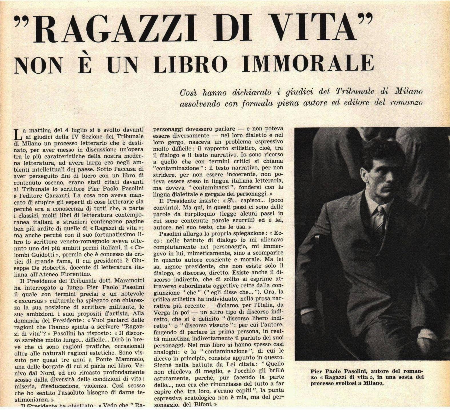 Ragazzi di vita - Libro - Pasolini - giornale