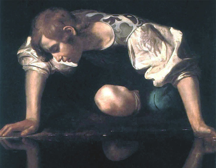Narciso - Caravaggio - dettaglio