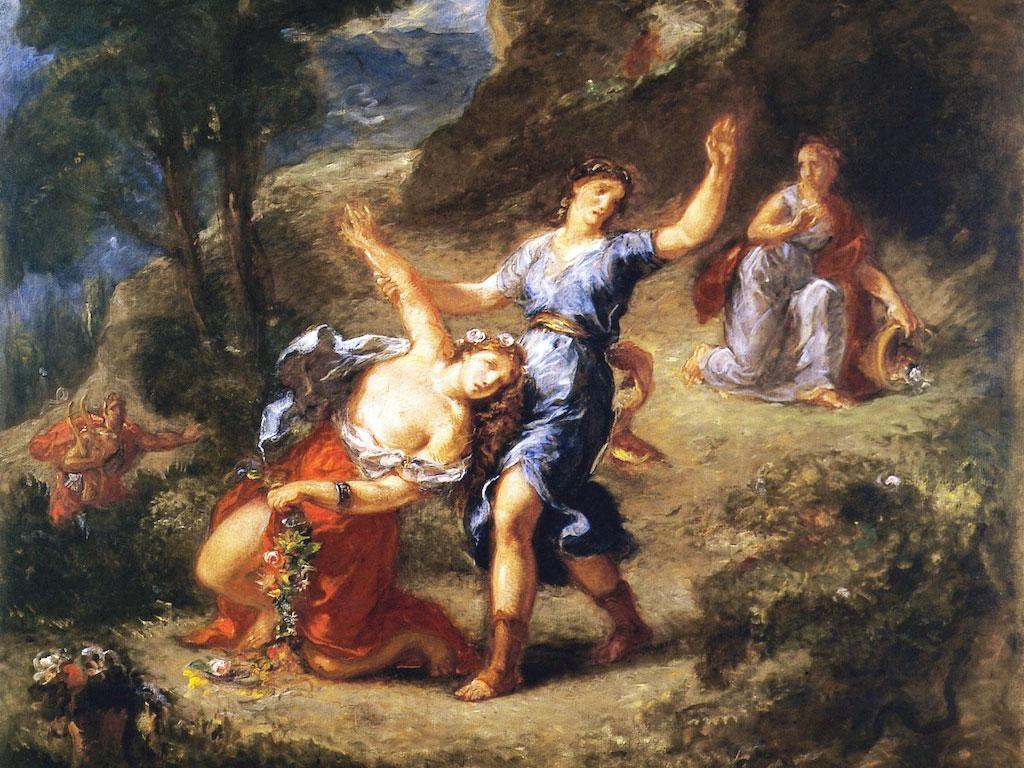 Il mito di Orfeo e Euridice in un dettaglio del quadro di Eugene Delacroix - 1862