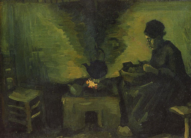 Contadina accanto al focolare - peasant near the hearth - paysanne pres de l atre - Van Gogh - 1885
