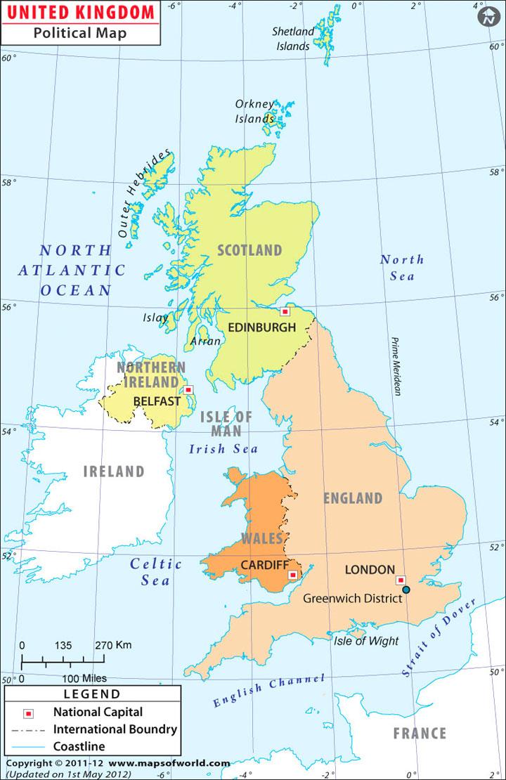 Regno Unito - Gran Bretagna - mappa politica - cartina politica