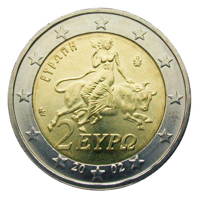 Il mito di Europa nella moneta da 2 euro greca - coin greek