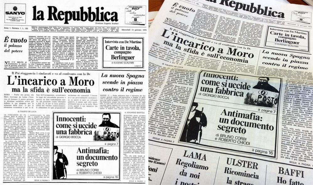 la Repubblica - giornale - primo numero - 1976