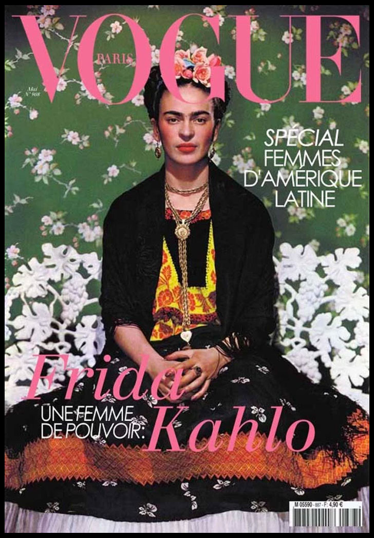 Frida Kahlo on White Bench - Vogue