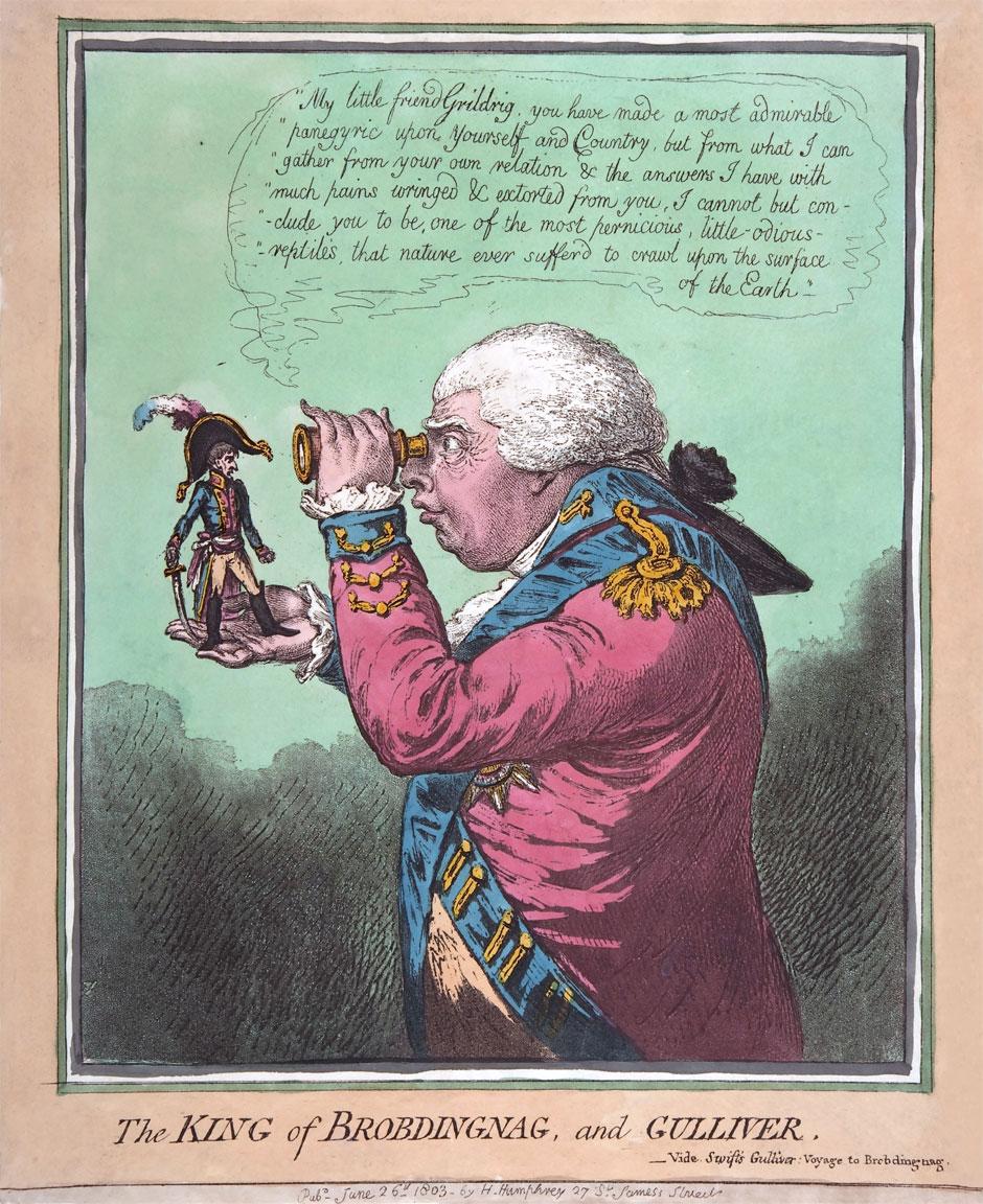 L'altezza di Napoleone – Bonaparte e Giorgio III - vignetta di James Gillray