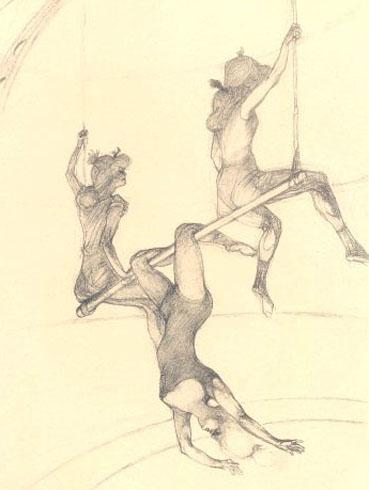 Trapezisti disegnati da Toulouse-Lautrec