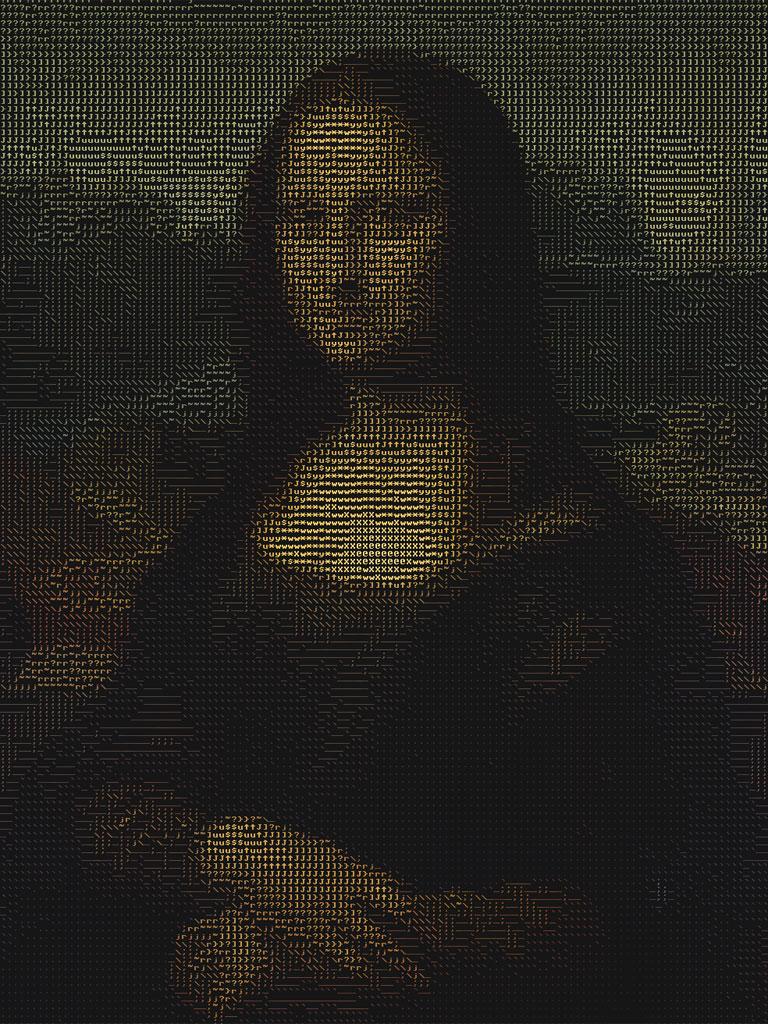 ASCII Art - La gioconda (Mona Lisa) di Leonardo realizzata con i caratteri ASCII