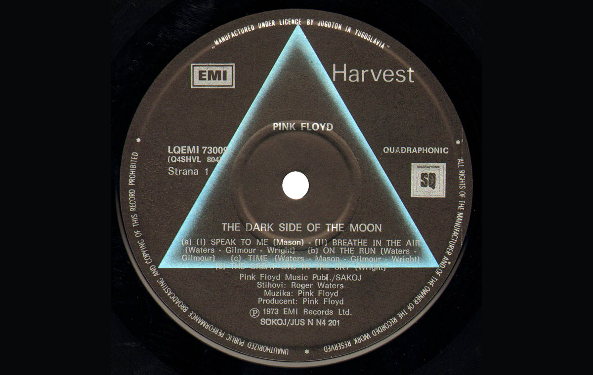 Vinile - The dark side of the Moon - canzoni