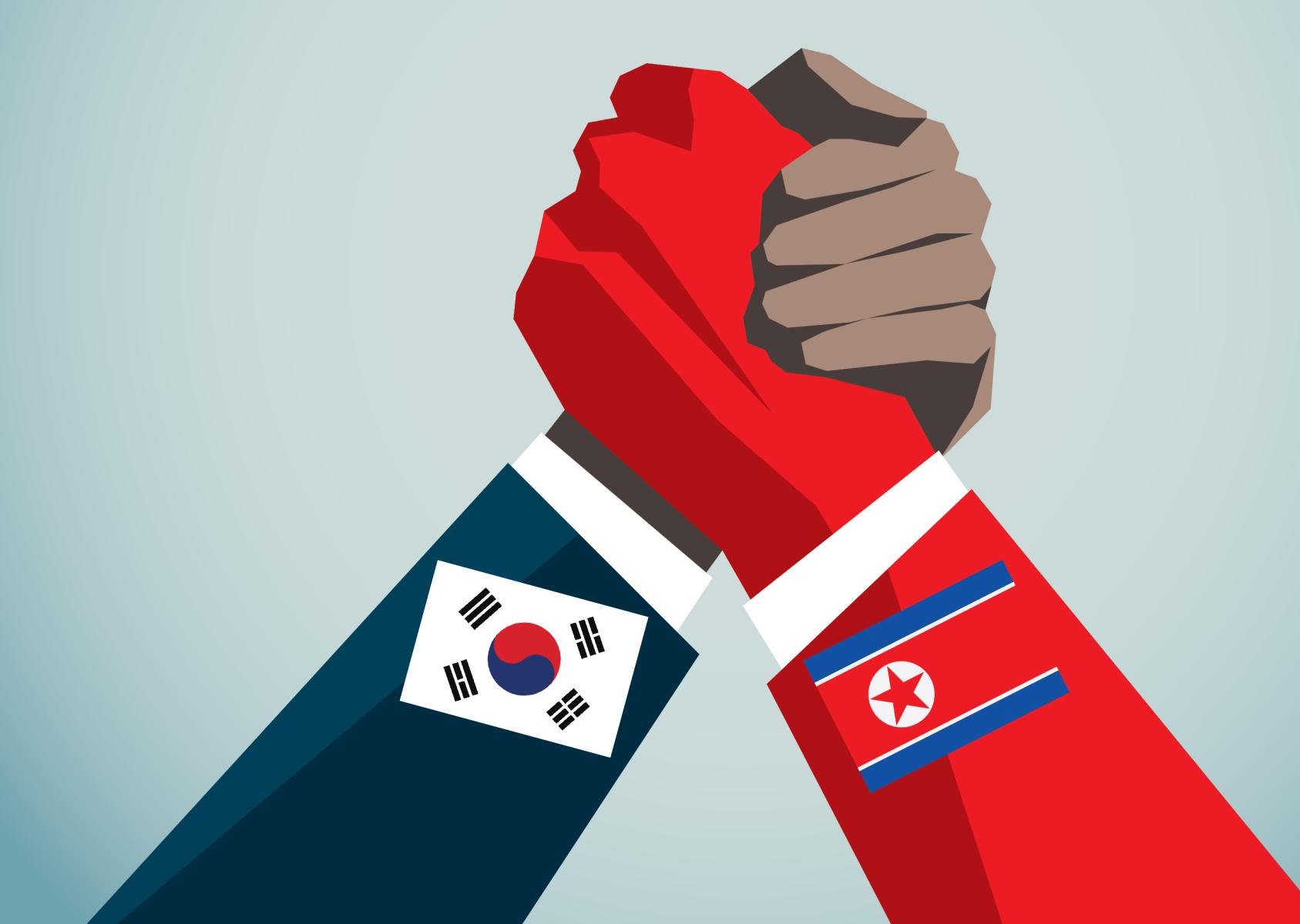 bandiere coree - corea del nord - corea del sud