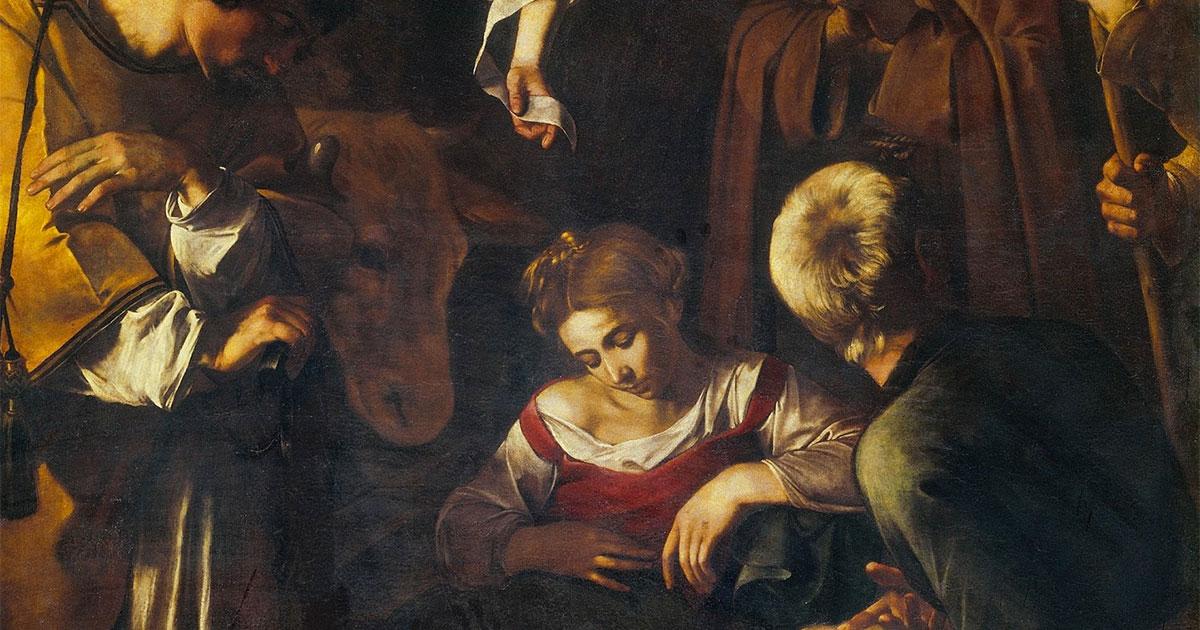 Dettaglio dell'opera di Caravaggio: Natività con i santi Lorenzo e Francesco d'Assisi