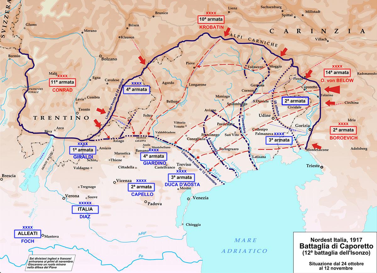 Mappa della Battaglia di Caporetto