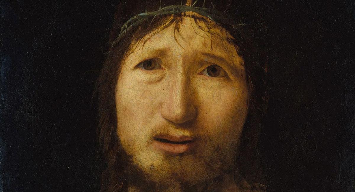 Ecce Homo, Antonello da Messina, dettaglio del volto di Gesù