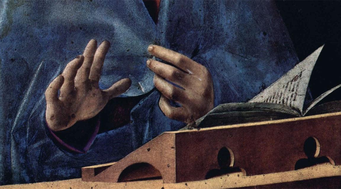 Annunciata di Palermo - dettaglio delle mani e del libro