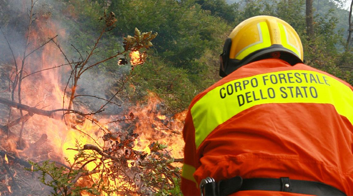 Lo spegnimento di un incendio in un intervento del Corpo Forestale